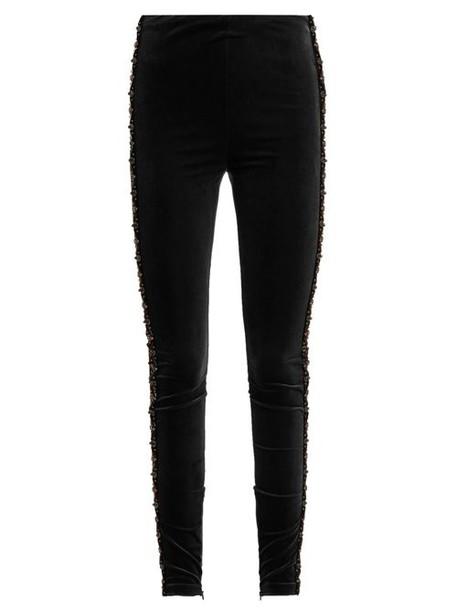 Koché Koché - Bead Embellished Velvet Leggings - Womens - Black