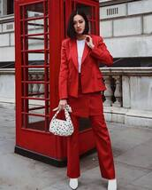 pants,straight pants,wrap skirt,high waisted pants,white boots,blazer,white bag,polka dots,handbag