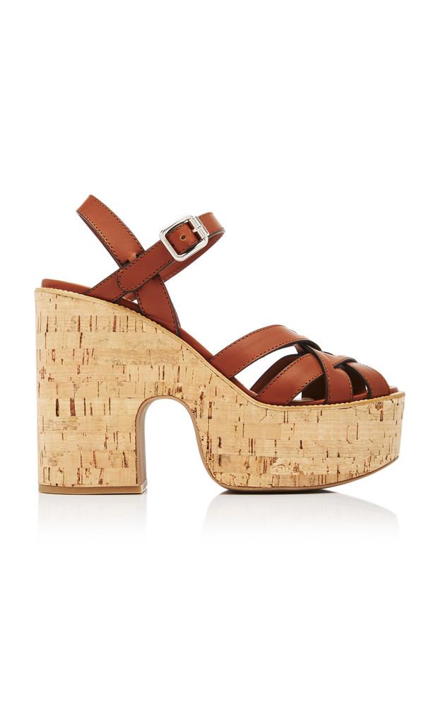 Miu Miu Leather Cork Platform Sandals in brown