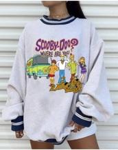 sweater,jumper,vintage,cartoon,grey,scooby doo,grey sweater,sweatshirt