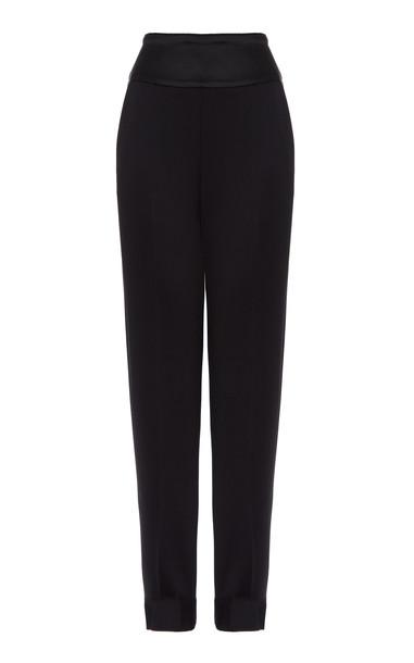 Temperley London Wool-Blend Smoke Trousers in black