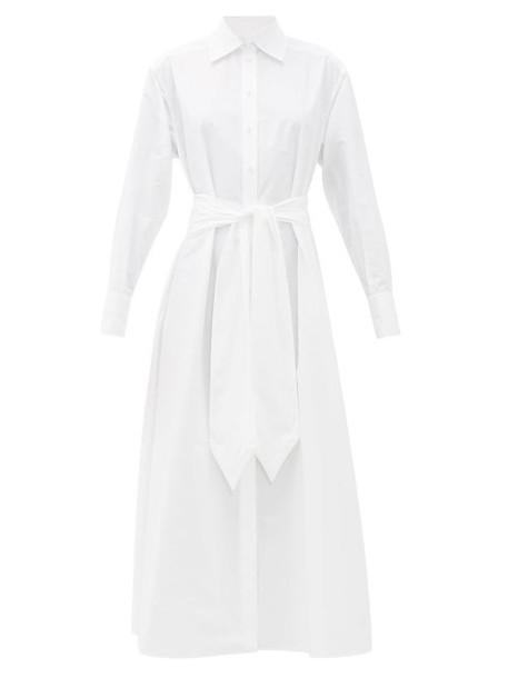 Valentino - Logo-embroidered Cotton-blend Poplin Shirtdress - Womens - White