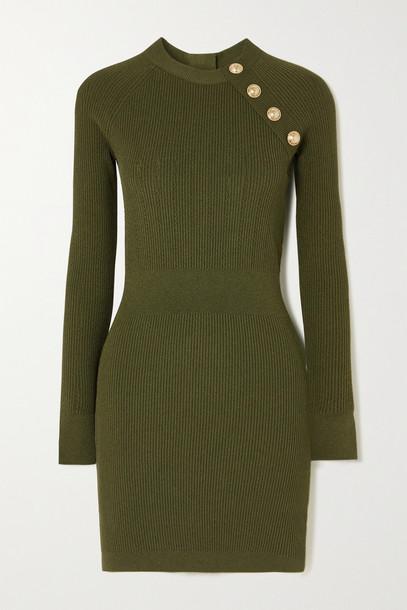 BALMAIN - Button-embellished Pointelle-knit Mini Dress - Green