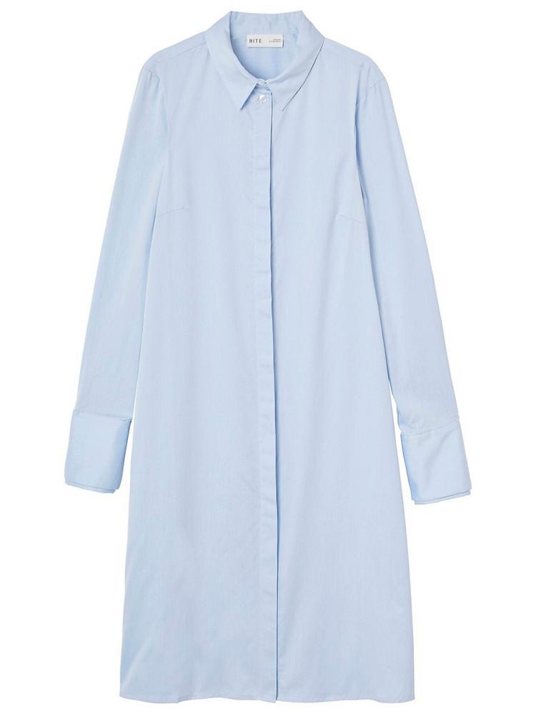 BITE STUDIO Slim Organic Cotton Shirt Mini Dress in blue