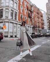skirt,midi skirt,grey skirt,knitted skirt,grey sweater,turtleneck sweater,set,white sneakers,black bag,long coat,grey coat