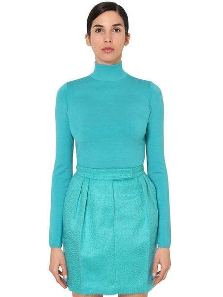 MAX MARA Virgin Wool Knit Turtleneck Sweater in turquoise