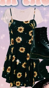 dress,black dress,spaghetti straps dress,sunflower dress,aesthetic,aesthetic grunge