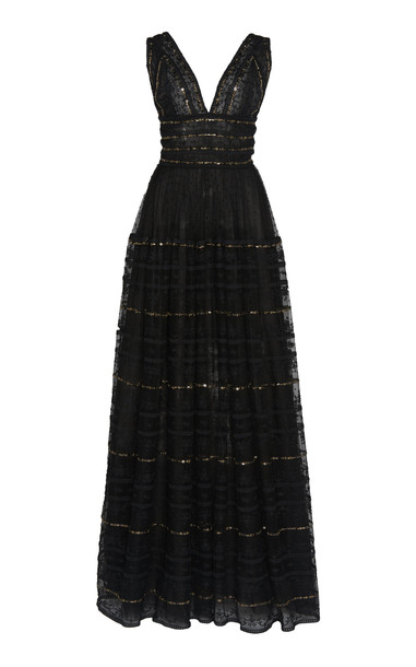 Costarellos Sequin-Embellished Tulle Dress in black