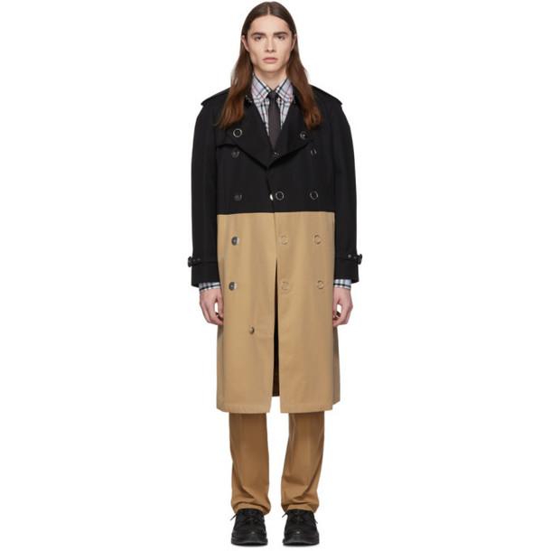 Burberry Black & Beige Gabardine Trench Coat