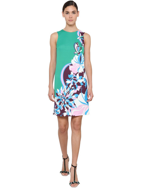 EMILIO PUCCI Printed Jersey Dress in green / multi
