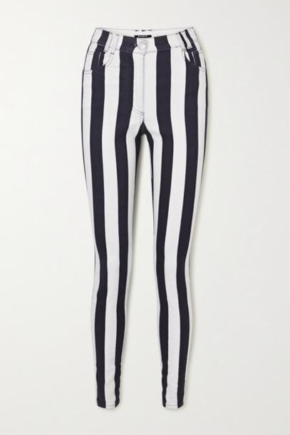 Balmain - Striped High-rise Skinny Jeans - White