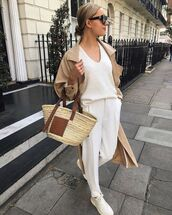 pants,high waisted pants,white sweater,white pants,zara,tote bag,trench coat,white sneakers