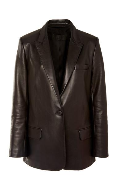 NILI LOTAN Don Single-Breasted Leather Blazer Size: 6 in black