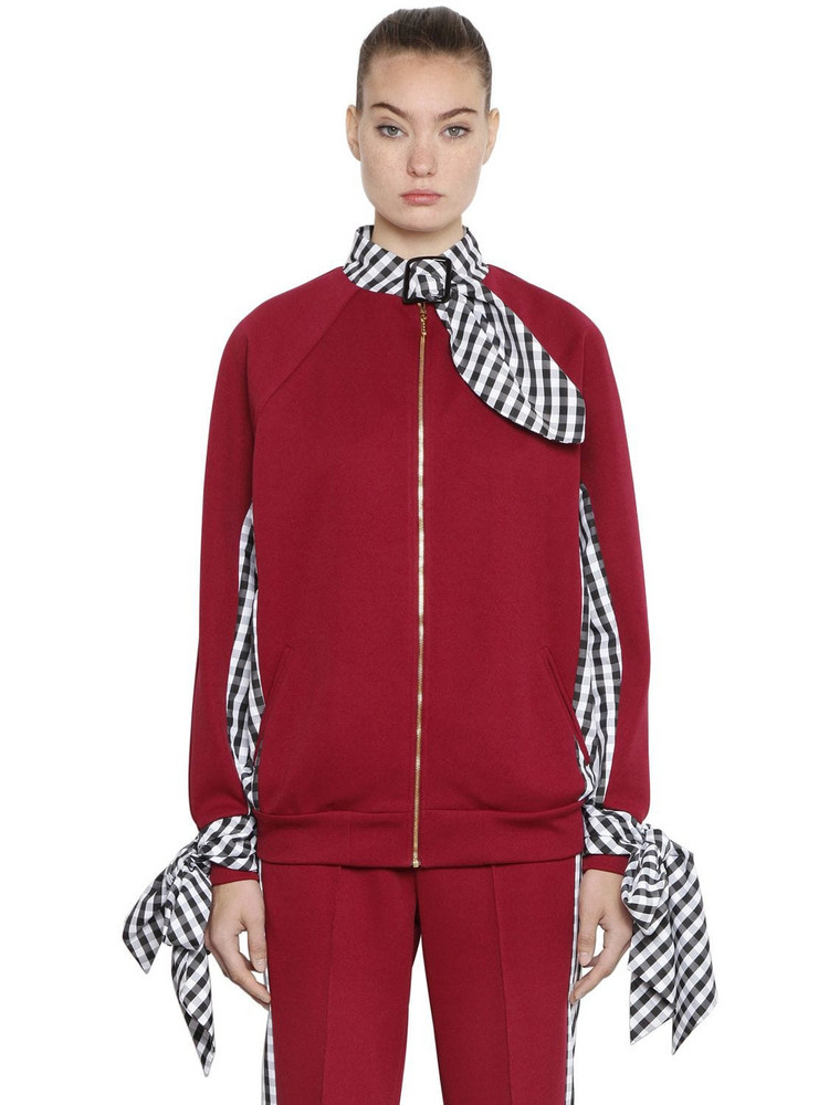 HOUSE OF HOLLAND Tricot & Gingham Bomber Jacket in black / red / white