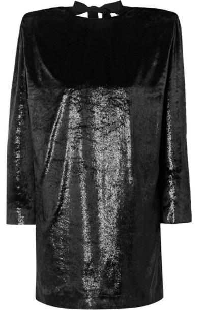 Dundas - Open-back Metallic Velvet Mini Dress - Black