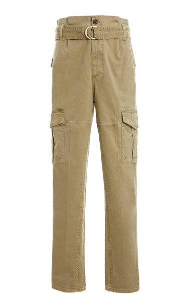 FRAME Safari Belted Cotton Cargo Pants in green