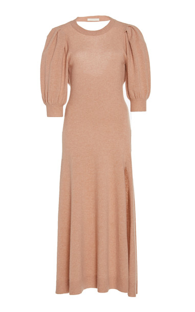 Jonathan Simkhai Open-Back Cashmere Maxi Dress in neutral