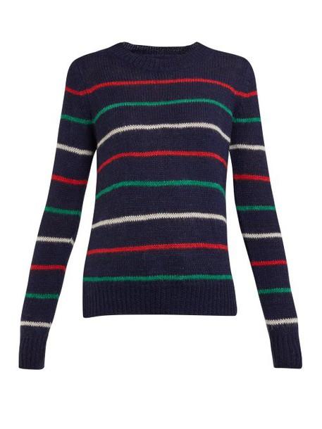 Isabel Marant Étoile - Gian Striped Wool Blend Sweater - Womens - Navy Multi