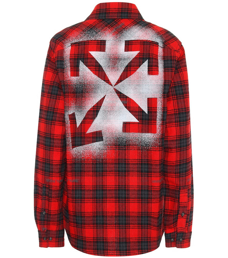 Off-White Checked cotton-blend flannel shirt in red
