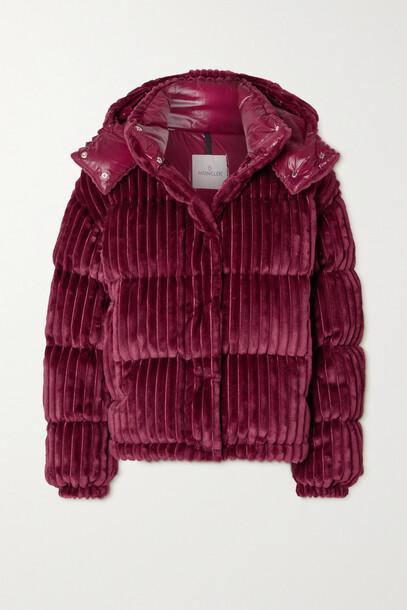 Moncler - Daos Hooded Quilted Corduroy Down Jacket - Burgundy