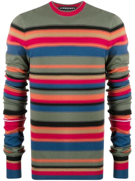 Y/Project striped knit jumper in green