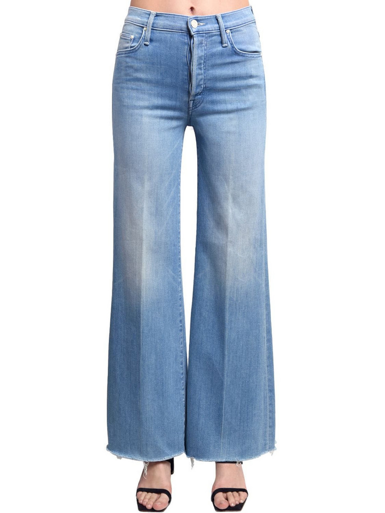 MOTHER Tomcat Rolled Wide Leg High Jeans in blue