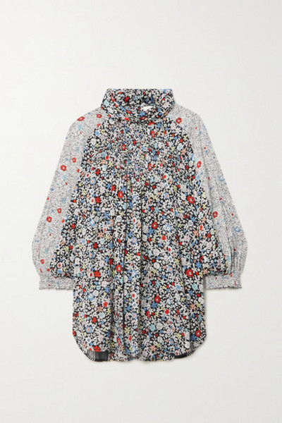 See By Chloé See By Chloé - Patchwork Floral-print Crepe Blouse - Black
