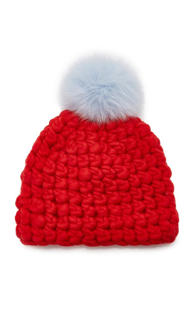 Mischa Lampert Solid Fur Pom-Pom Wool Beanie in red