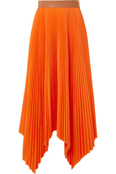 Loewe - Asymmetric Leather-trimmed Pleated Poplin Midi Skirt - Orange