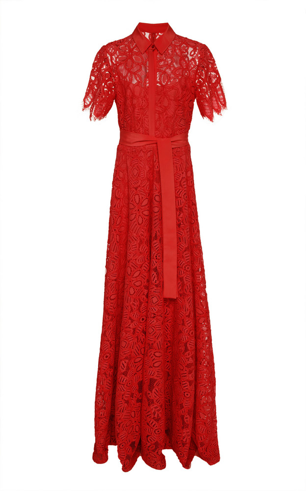 Lela Rose Guipure Lace Maxi Dress in red
