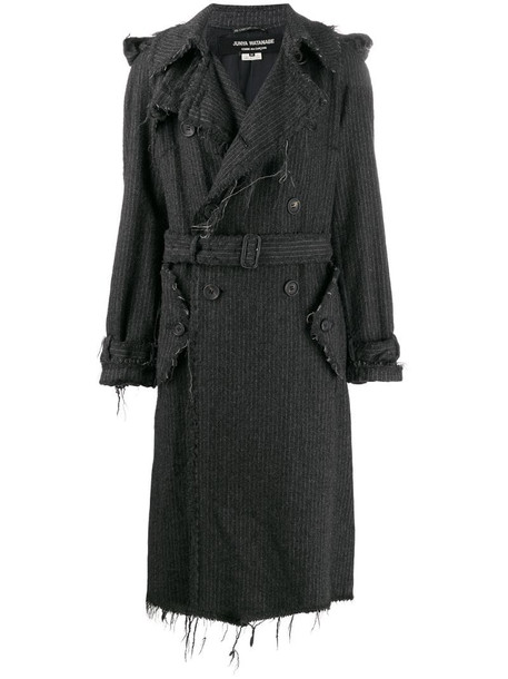Junya Watanabe Comme des Garçons Pre-Owned pinstripe frayed trench coat in grey