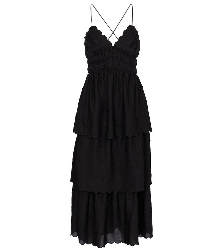 Self-Portrait Tiered midi dress in black