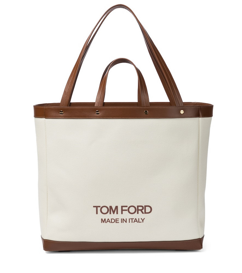Tom Ford T Screw Medium canvas tote in white