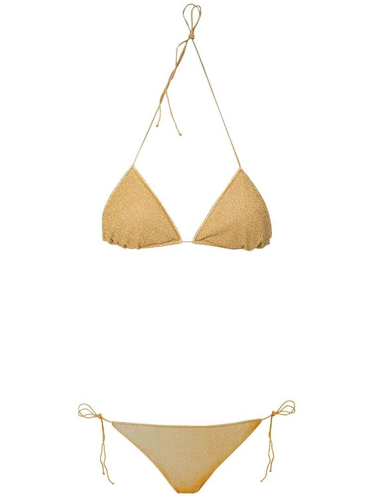 OSÉREE SWIMWEAR Lumière Lurex Triangle Bikini Set in gold