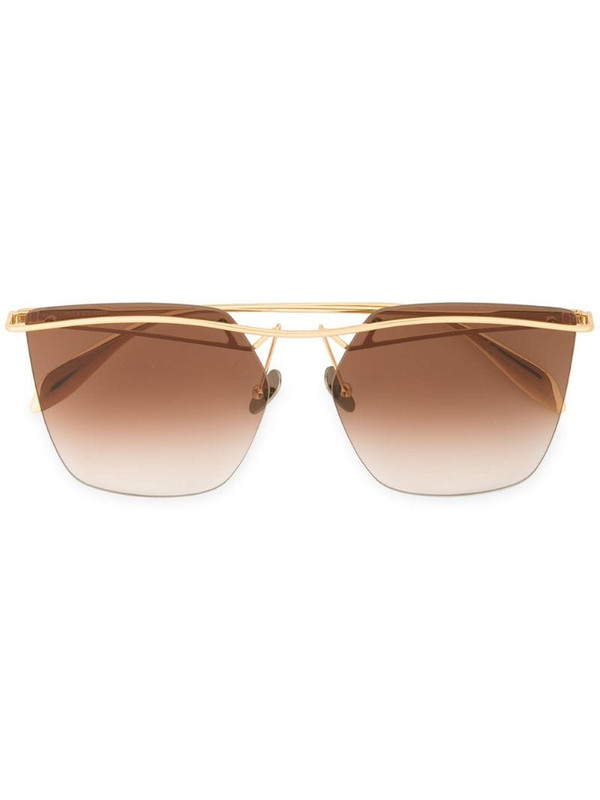 Alexander McQueen Eyewear tinted bar sunglasses in metallic