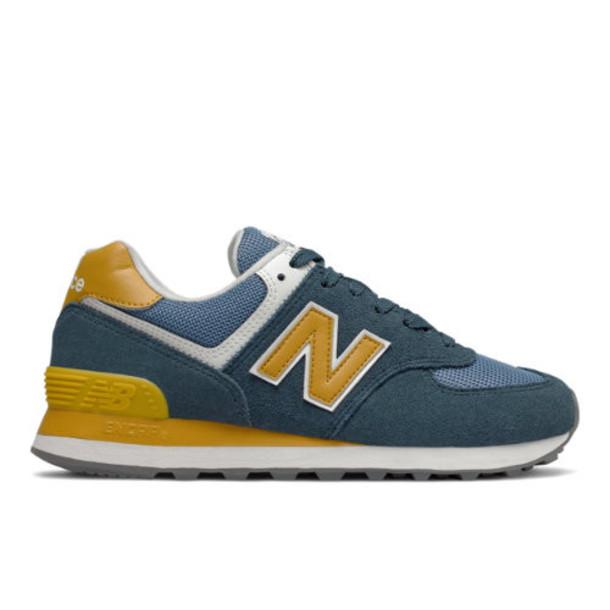 New Balance 574 Women's 574 Shoes - Blue/Yellow (WL574LDD)