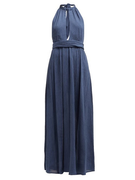 Mara Hoffman - Linny Halterneck Plissé Voile Dress - Womens - Blue