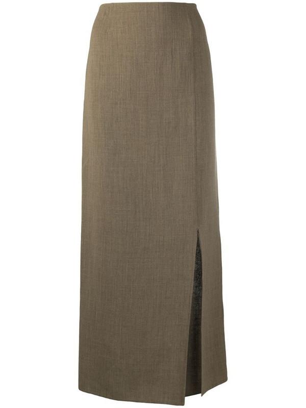 Louis Vuitton pre-owned slide-slit maxi skirt in green