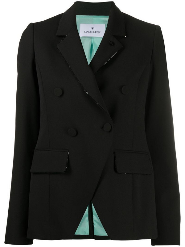 Manuel Ritz sequin lapel double-breasted blazer in black