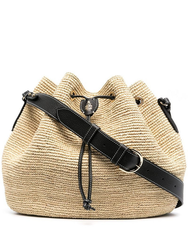 Mark Cross woven style drawstring shoulder bag in neutrals