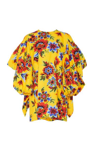 Carolina Herrera Printed Cotton-Silk Shift Dress in yellow