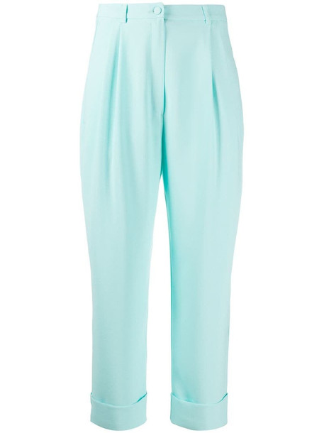 Hebe Studio plain tapered trousers in blue