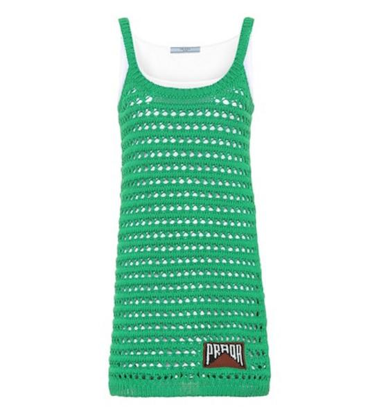 Prada Cotton crocheted minidress in green