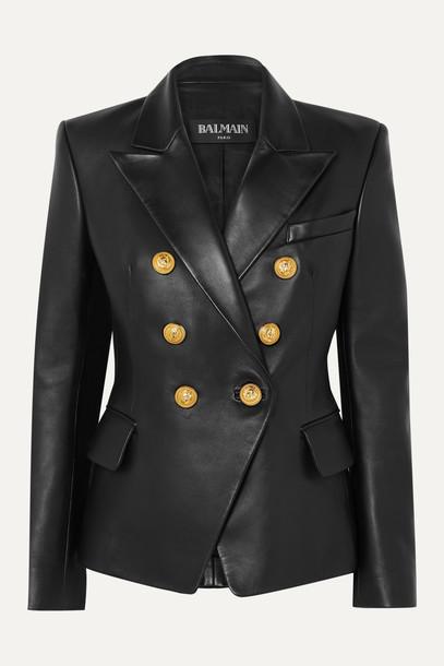 BALMAIN - Double-breasted Leather Blazer - Black