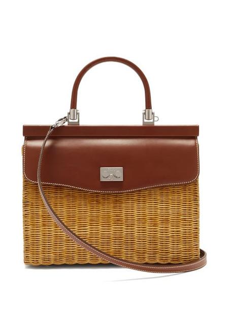 Rodo - Wicker & Leather Box Bag - Womens - Brown