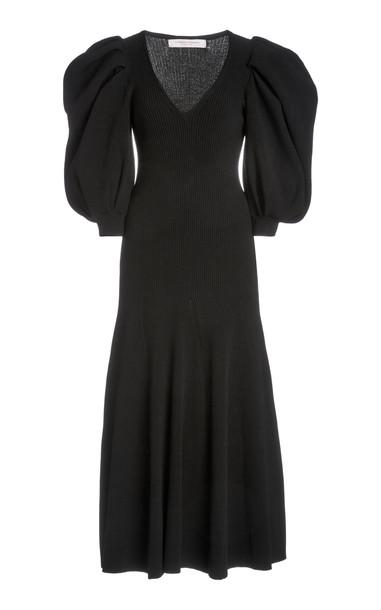 Carolina Herrera Puffed-Sleeve Crepe Dress in black
