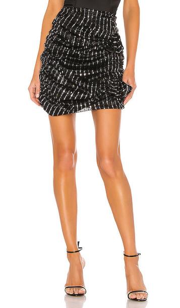 Lovers + Friends Lovers + Friends Lyra Mini Skirt in Black,Metallic Silver