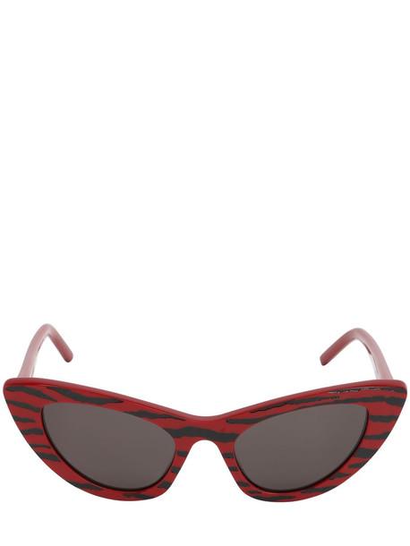 SAINT LAURENT Zebra Acetate & Enamel Cateye Sunglasses in black / red