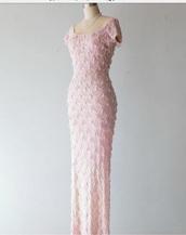 dress,pink,rosa dress,pailletten,pearl,classic,maxi dress,haute couture,luxury,rose,vintage,luxury dresses