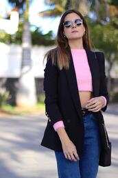 marilyn's closet blog,blogger,top,jeans,belt,bag,shoes,jacket,jewels,sunglasses,cropped sweater,pink sweater,blazer
